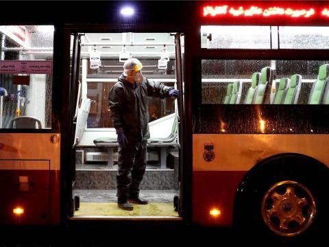 Autobús en Teherán, Irán.