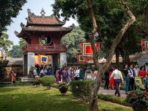 El Van Mieu, o Templo de la Literatura, el 5 de febrero de 2019, el primer día del Año Nuevo Lunar.
