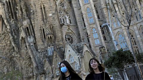 Turistas chinos en la Sagrada Familia