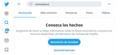 Captura de pantalla del anuncio automático al que dirige Twitter en España al buscar sobre el coronavirus.
