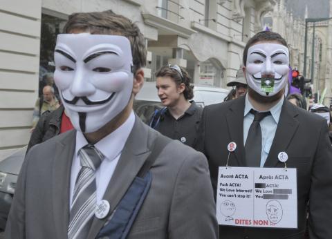 Manifestación contra ACTA en Bruselas, 2012.