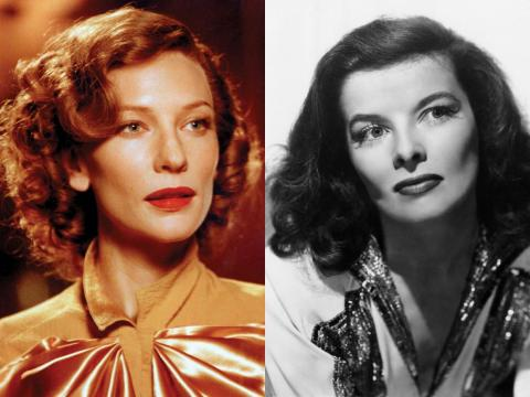 "Cate Blanchett in ""The Aviator"" and the real Katharine Hepburn."