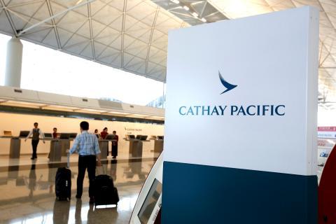 Una zona de facturación de Cathay Pacific en el aeropuerto de Hong Kong