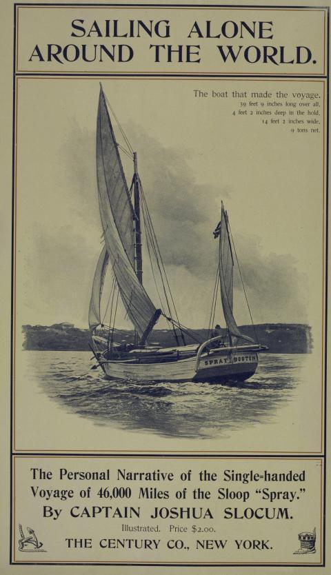 Cartel publicitario de la novela 'Navegando en solitario alrededor del mundo' por el capitán Joshua Slocum, 1903.