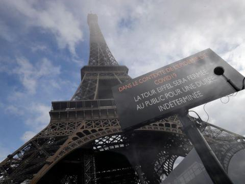 AFTER: The Eiffel Tower has closed indefinitely.