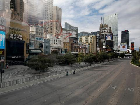 AFTER: On March 17, the governor of Nevada ordered nonessential businesses to close for 30 days, leaving the Las Vegas Strip looking like a ghost town.