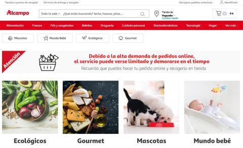 Mensaje de alta demanda y servicio limitado en la web de compra online de Alcampo.