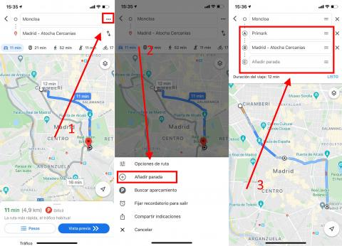 Añade multiples paradas antes del destino final en Google Maps