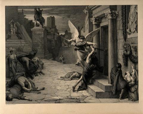 El ángel de la muerte golpeando una puerta durante la plaga de Roma. Grabado de Levasseur.