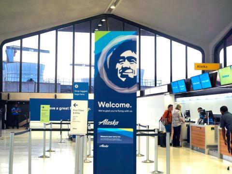 La facturación de Alaska Airlines en el aeropuerto de Newark.