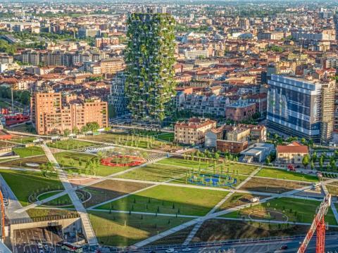 "An ariel view of ""Bosco Verticale."""