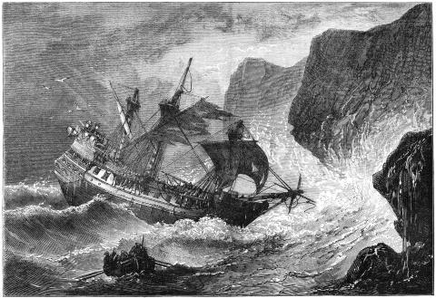 Ilustración del almirante Somers dirigiendo su barco a Bermudas, 1609 (c1880). Este almirante (1554-1610) fue el fundador de la colonia inglesa, y se dice que las historias de su naufragio inspiraron la obra de Shakespeare 'La tempestad'.