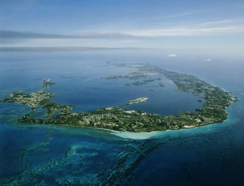 Vista aérea de la isla de las Bermudas.