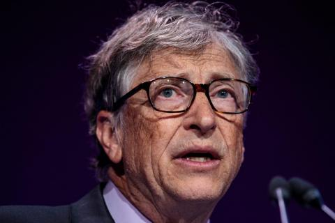 Bill Gates gives a talk at the Malaria Summit in London, UK, in April 2018.