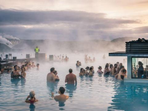 BEFORE: The Blue Lagoon is Iceland's No. 1 attraction. The geothermal spa sees about 1.3 million visitors a year, per the BBC, even though Iceland has a population of only about 330,000.