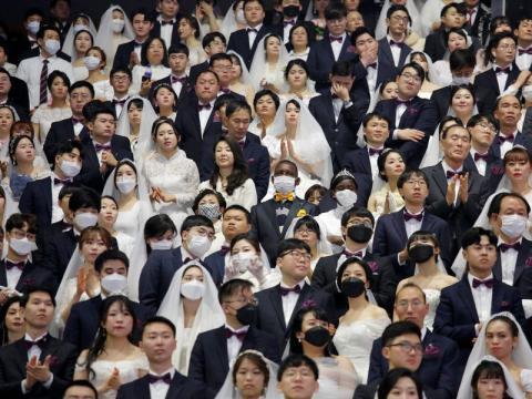 Boda con muchísimos invitados celebrada en la Iglesia de la Unificación en Gapyeong el 20 de febrero de 2020.