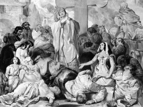 Image of people praying for relief from the bubonic plague, circa 1350.