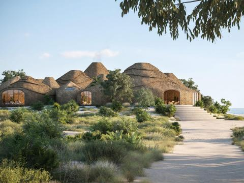 The building materials for the resort are made from the island's sand and saltwater to make a sand-based mortar.