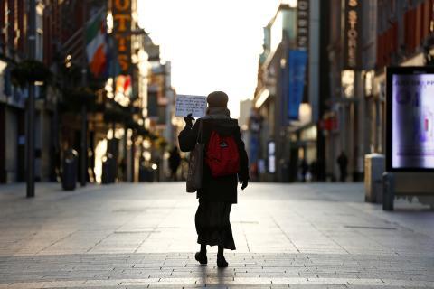 Las calles de Dublin, vacías por la pandemia del coronavirus