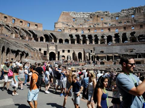 BEFORE: The Colosseum, a UNESCO World Heritage Site, sees about 7.4 million visitors a year, according to a local magazine.