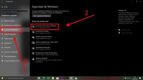Cómo activar la protección antivirus y contra amenazas en Windows 10