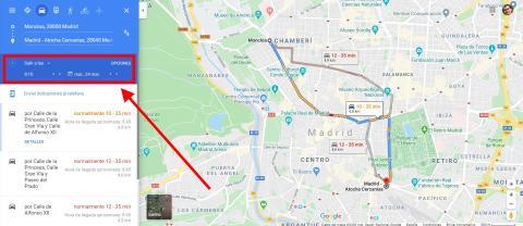 Conoce el tiempo de trayecto a un destino sea la hora que sea con Google Maps