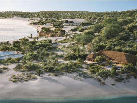Each Kisawa bungalow has a one-acre plot, complete with beachfront, a pool, outdoor kitchen, and more.