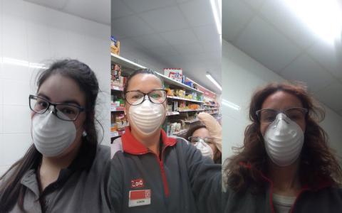 3 empleadas de supermercado trabajando durante el coronavirus