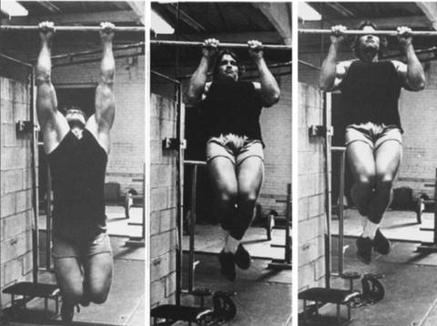 Schwarzenegger realizando dominadas