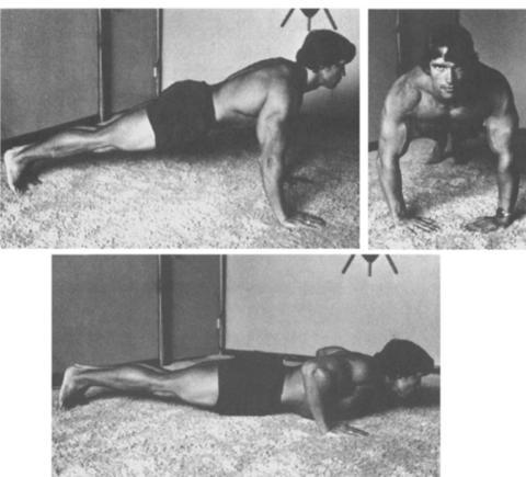Schwarzenegger realizando flexiones cambiando la posición de los brazos