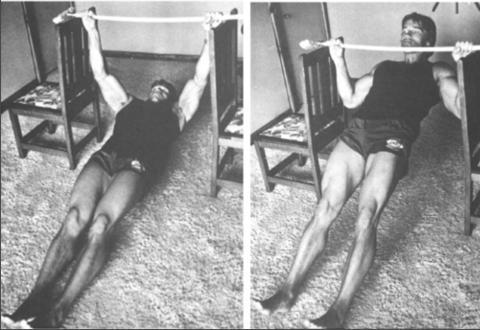 Schwarzenegger ejecutando un remo invertido usando dos sillas y una barra