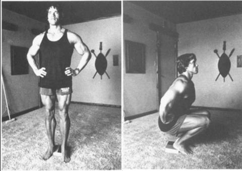 Schwarzenegger mostrando el movimiento de sentadillas