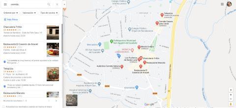 Escribe lo que estás buscando para que Google Maps te sugiera sitios donde puedes encontrarlo en Google Maps
