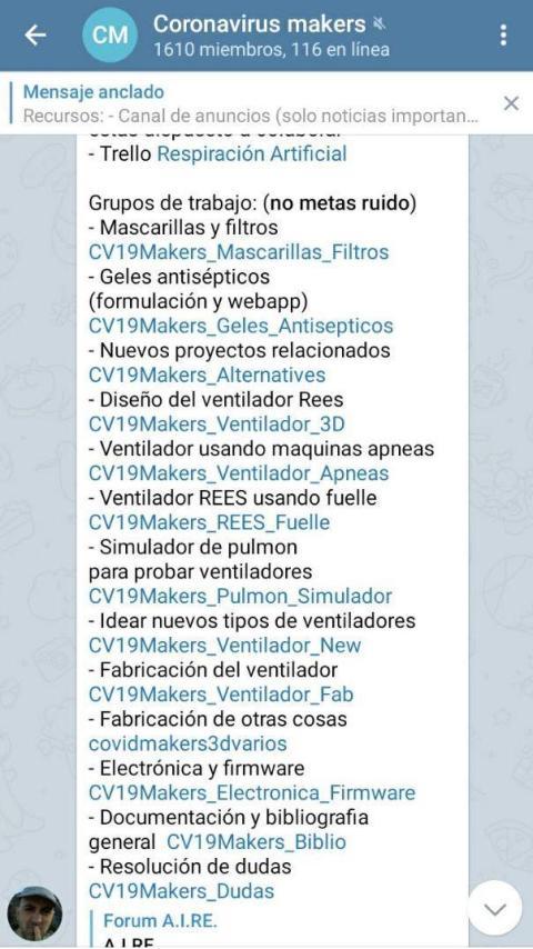 Grupo de Telegram de Coronavirus Makers