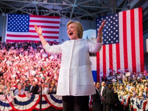 Hillary Clinton haciendo campaña en Brooklyn en 2016.