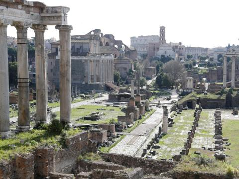 A view of the deserted Roman Forum on March 23, after Italy tightens measures to contain the spread of the coronavirus.