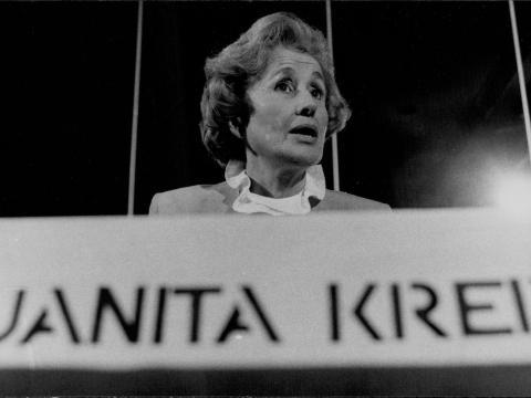 Juanita Kreps en el Hotel Wentworth en 1982.