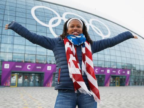 Lauryn Williams en Sochi, Rusia, en 2014.