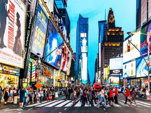 BEFORE: Locals may avoid it, but New York City's Times Square is one of the world's most visited tourist attractions. It sees nearly 380,000 pedestrians every day, according to Times Square Monthly Pedestrian Count Reports.