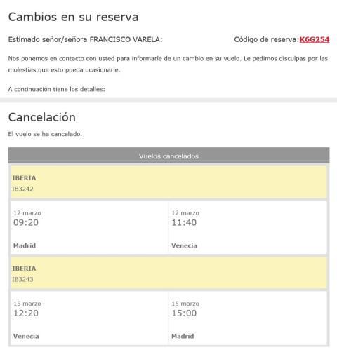 Mail de cancelación de Iberia