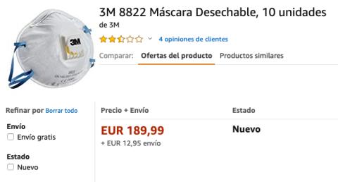 Mascarilla 3M cara en Amazon.