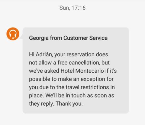 Mensaje de atención al cliente Booking durante la cancelación