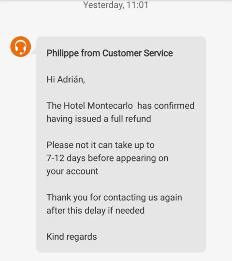 Mensaje de Booking sobre la devolución del importe de reserva