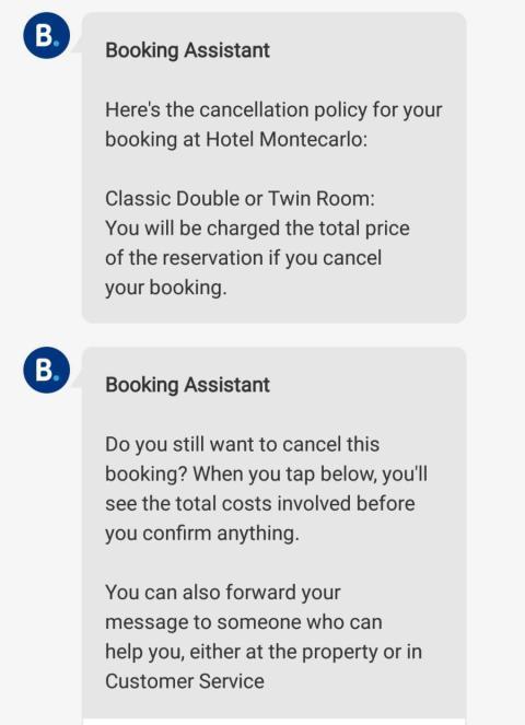 Mensaje de Booking sobre la política de cancelaciones del hotel