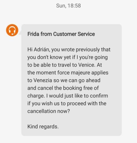 Mensaje de Booking sobre la tramitación de la cancelación por fuerza mayor