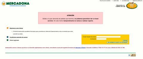 Plataforma tradicional de compra online de Mercadona, con el aviso de cese del reparto a domicilio.