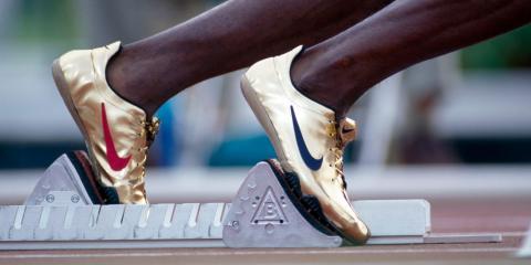 Michael Johnson's Nike-clad feet in 1996.
