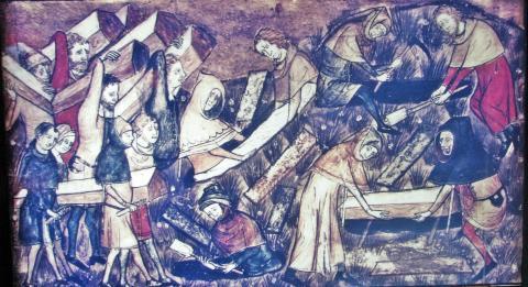 Miniatura de un manuscrito belga del siglo XIV en el Museo de la Diáspora sobre la Peste Negra.