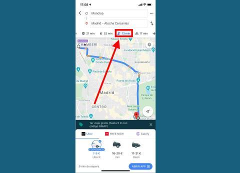 Si necesitas usar transporte público, te ofrece las tarifas estimadas de Uber, Cabify, MiTaxi o similares