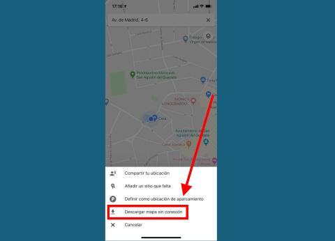 Si no tienes Internet, también tienes la opción de descargarte el mapa para consultarlo cuando quieras en Google Maps